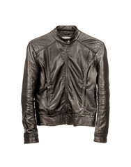 dark leather jacket isolated on white background