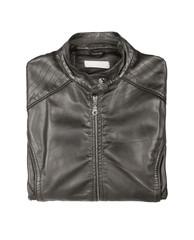 black leather jacket, isolated on white background