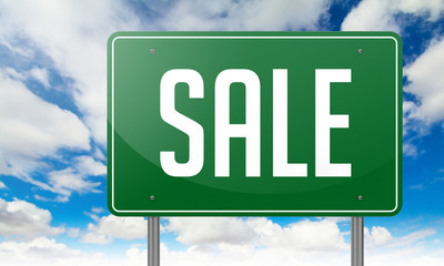 Sale on Green Highway Signpost.
