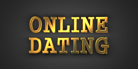 Online Dating - Gold Words on Black.