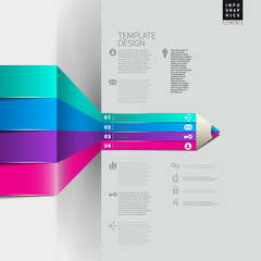 Vector pencil Infographic timeline template with icons