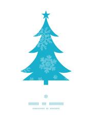 Christmas trees frame blue snowflakes textile seamless pattern