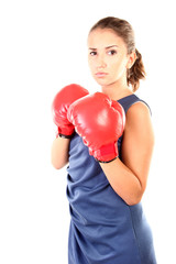 Teenage girl with boxing gloves