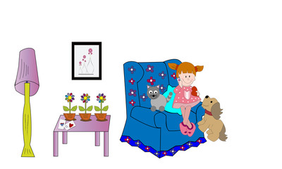 Niña con perro y gato sentada en sillón