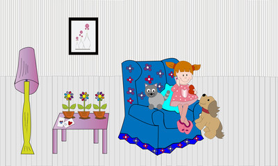 Niña en sillón con perro y gato