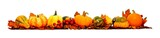 Border of autumn leaves, pumpkins and vegetables over white poster