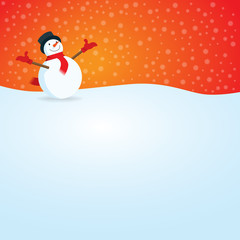 Happy Smiling Snowman with Snow Fall