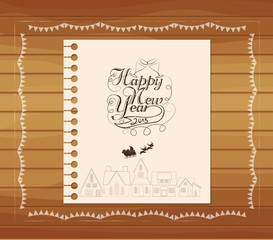 christmas and new year hand draw lettering card