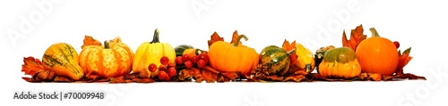 Border of autumn leaves, pumpkins and vegetables over white - 70009948