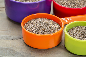 chia seeds in measuring cups