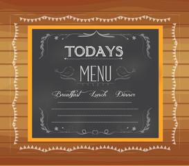 menu written on chalkboard