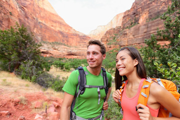 Hiking people - hiker couple on hike