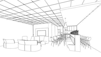 outline sketch of a interior pantry area