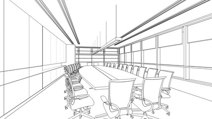 outline sketch of a interior meeting room