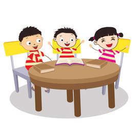 A Small Group of Kids Open Book and learning