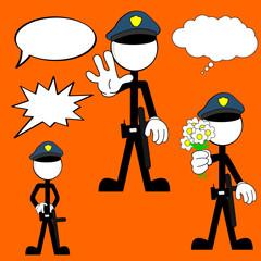 police man pictogram cartoon set4