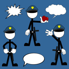 police man pictogram cartoon set2