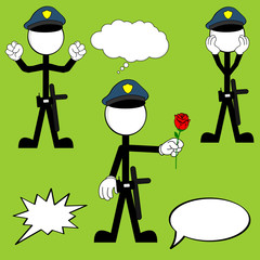 police man pictogram cartoon set