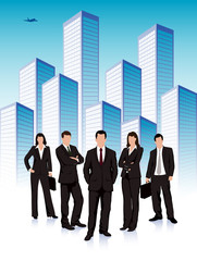 group of businessmen on the background of the city