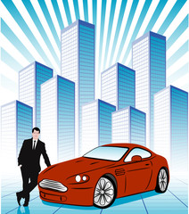 Businessman near a car on a background of a city block