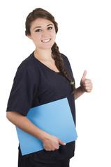 Medical young woman nurse doctor intern portrait