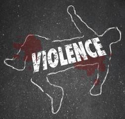 Violence Chalk Outline Word Dead Body Murdered Killed