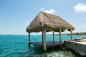 palapa on the waterer in Lake Bacalar Mexico