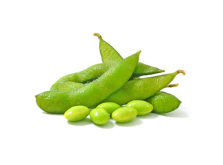 boiled green soy beans, japanese beans on white background