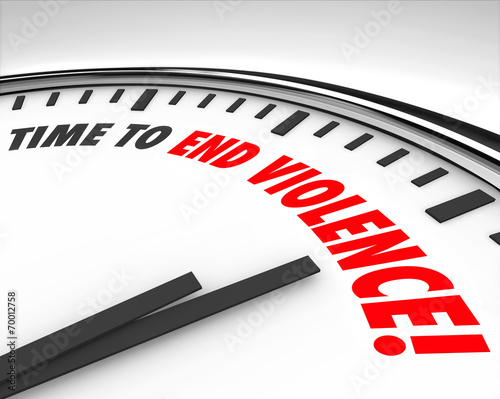 canvas print picture Time to End Violence Words Clock Protest Negotiate End War