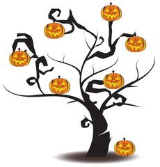 Jack-o-lantern tree in Halloween festival, create by vector