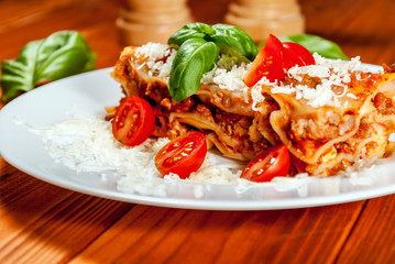 Italian lasagne with tomato