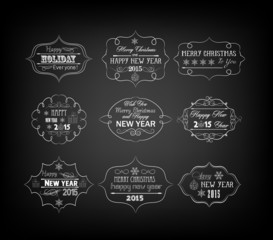 Set Of Vintage Retro christmas and happy new year Labels