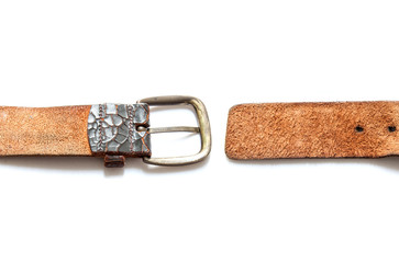 old vintage natural leather belt on white isolate