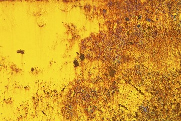 Rusty metal with yellow and red colours