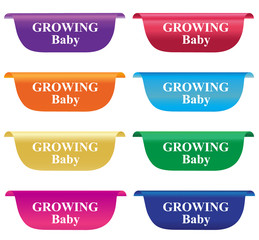 Growing baby, tag, label, badge, horizontal