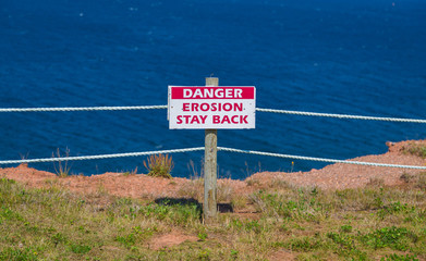 Erosion Stay Back Sign