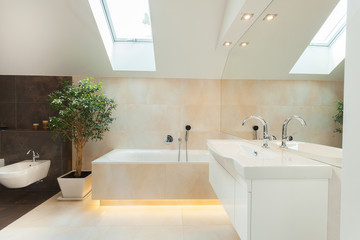 Modern bathroom with illuminated bathtube
