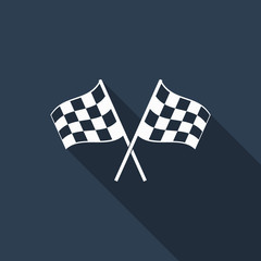racing flag icon with long shadow