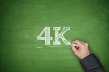 4K concept on blackboard