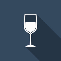 wine glass icon with long shadow