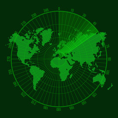 Green Radar Screen with Map. Vector