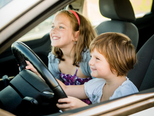 Children driving car