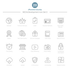 Set of Thin Line SEO and Development icons Set 3