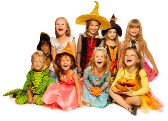Large group of kids in Halloween costumes