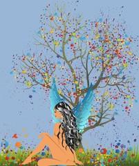 anioł i drzewo ,