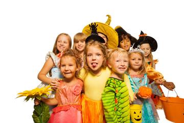 Funny kids in Halloween costumes
