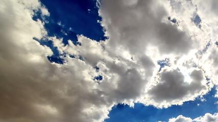 Sun behind the clouds. Time Lapse. Pamir, Tajikistan