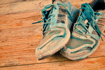 Worn sports shoes