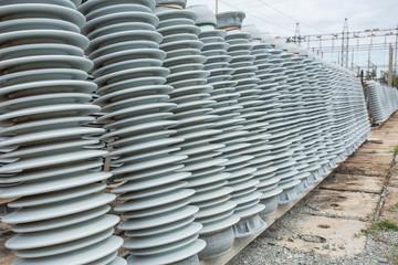 High voltage insulators at new substation