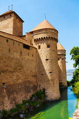 Chillon castle walls and towers